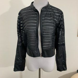 New Look Mesh Striped Cropped Jacket